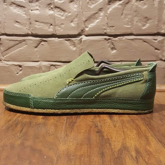 Puma Mens Suede Leather Loafers Olive